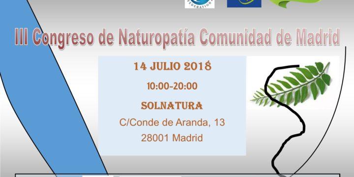 Llega a su III edición el Congreso de Naturopatía Comunidad de Madrid