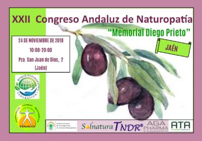 """En el marco del XXII Congreso Andaluz de Naturopatía """"Memorial Diego Prieto"""" que se celebrará el próximo día 24 de Noviembre en Jaén, se hará entrega de los Premios y Menciones de la Naturopatía Andaluza 2018"""